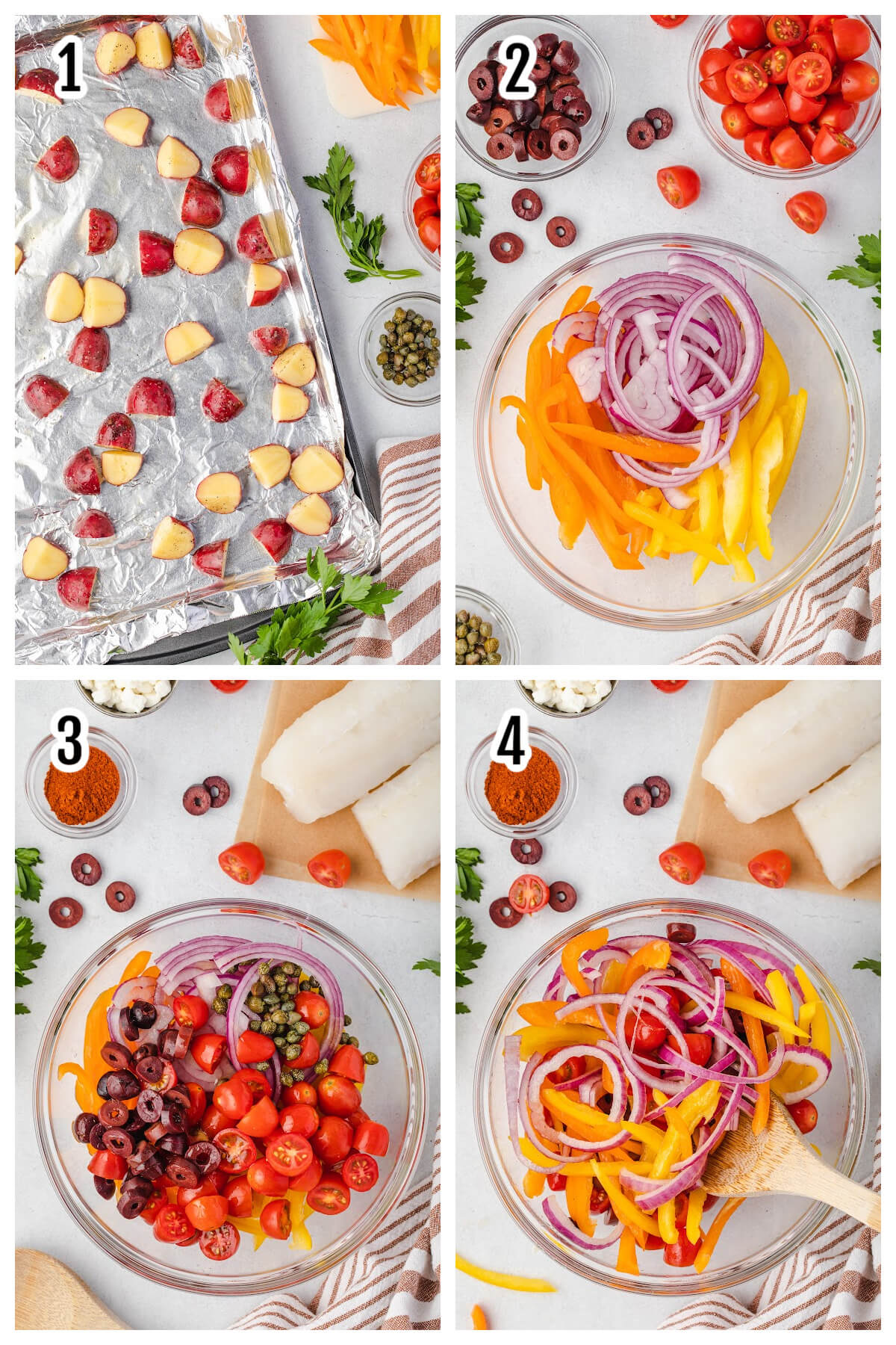 Collage of the first four step by step instructions for the baked vegetables and cod fish.