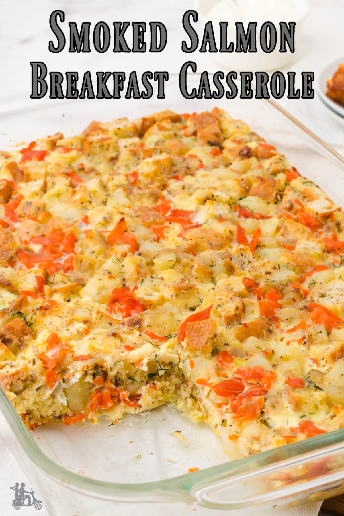 Lox and Egg Casserole Bake in a baking dish.