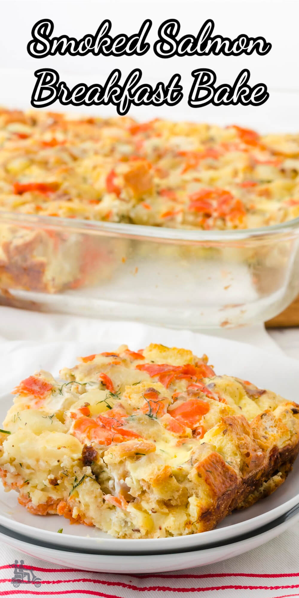 This breakfast egg casserole is a delicious mixture of smoke salmon, potatoes, eggs, cream and seasoned with fresh chives ,dill, shallots and a touch of Dijon mustard. It's easy to make the night before then just pop in the oven when you're ready. This makes an excellent brunch dish during the holidays or for a special occasion. It's also easy to halve for a smaller group. #eggcasserole #smokedsalmon #breakfastcasserole #smokedsalmonbreakfast.