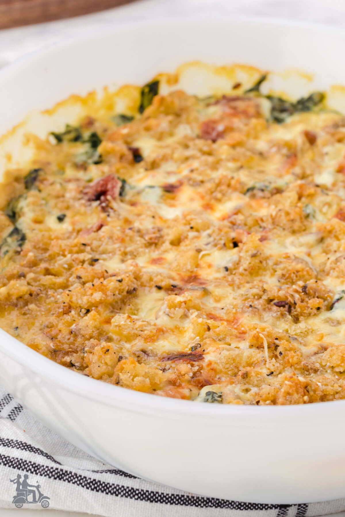 A holiday gratin dish made up of Swiss Chard topped with homemade breadcrumbs.