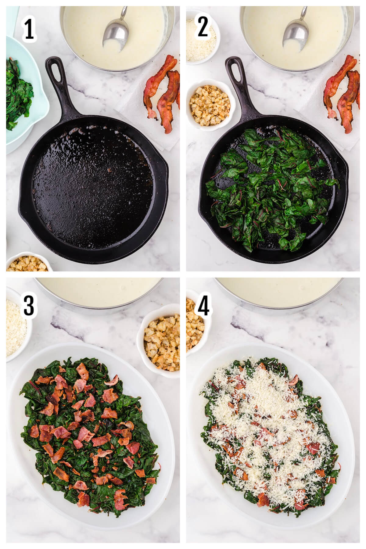 First set of Instructions for assembling the winter greens gratin recipe.