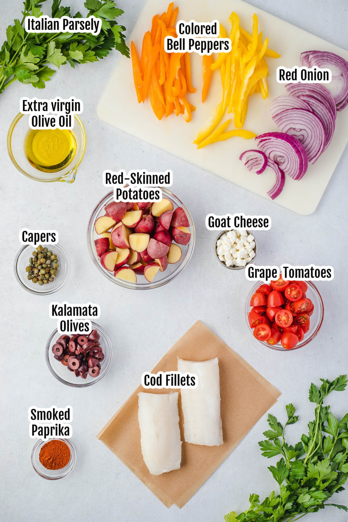 Photo of the Mediterranean cod ingredients.